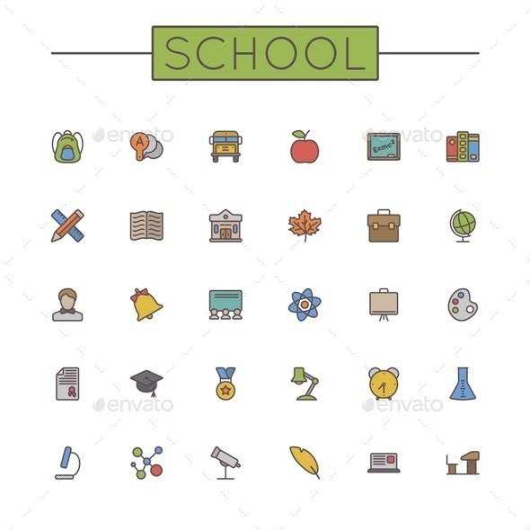 Vector 20colored 20school 20line 20icons