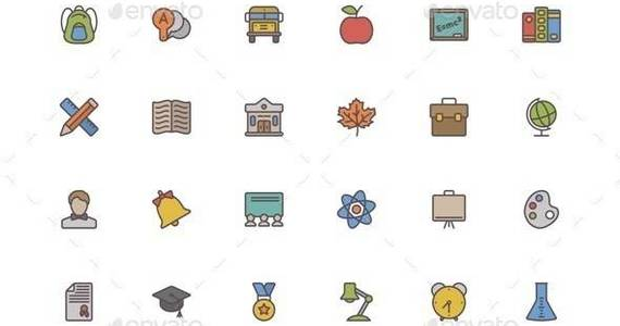 Box vector 20colored 20school 20line 20icons
