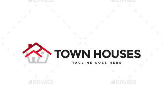 Box town houses logo template