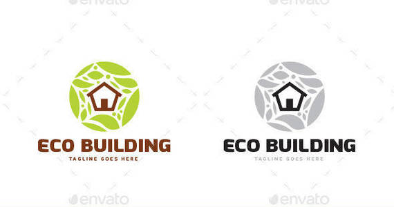Box eco building logo template