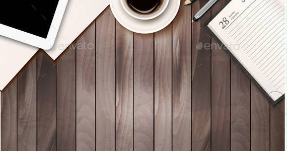 Box 01 business background with ofice supplies and tablet on wooden background t