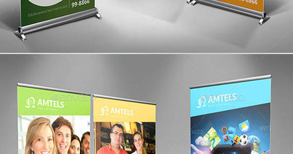 Box business banner bundle template rollup psd ecommerce corporate wall board dotnpix graphicriver