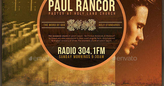 Box radio broadcast church flyer template preview