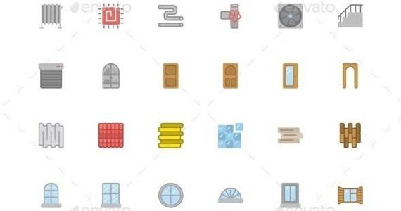 Box vector 20flat 20building 20material 20icons