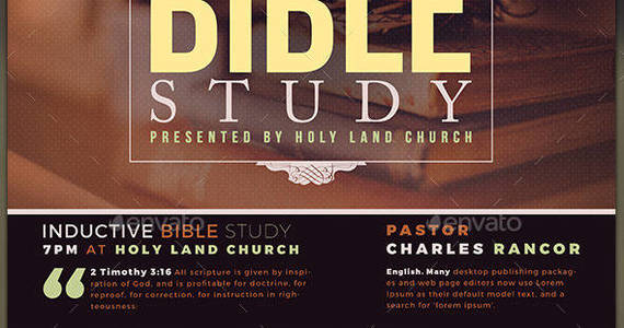 Box bible study church flyer template preview