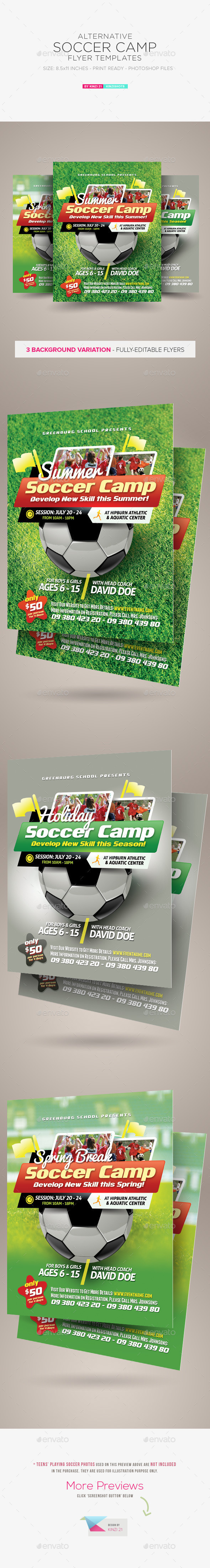 Graphic river soccer camp flyer templates kinzishots