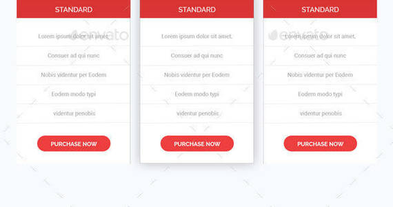Box modern layered clean minimal pricing tables