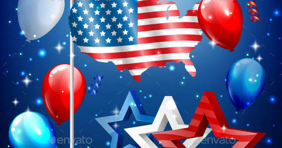 Box independence 0007 country flag stars balloons am ipr