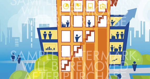 Box abstract vector illustration displaying a modern business center with arrows and people s icons.100.130