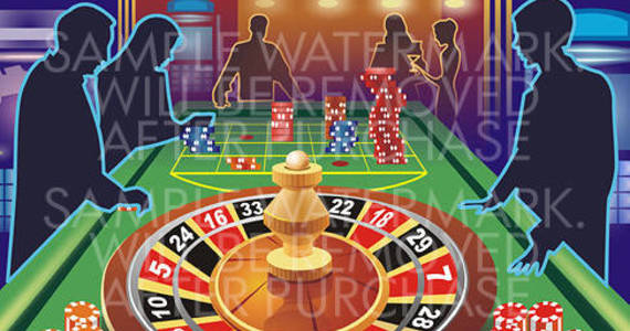 Box vector illustration depicting casino table with roulette and piles of chips and people s silhouettes around it.100.107