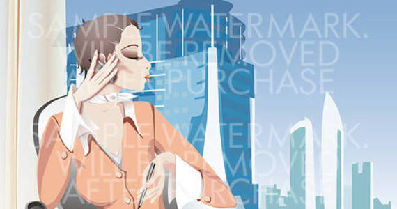 Box vector illustration of a business woman talking over the cell phone on a city background.100.100