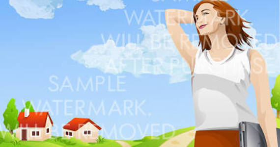 Box vector illustration of a smiling woman with laptop on the rural landscape background.100.137