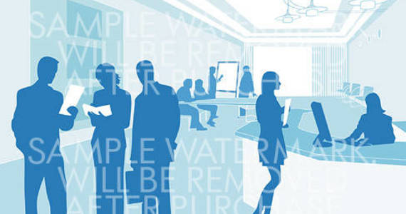 Box vector illustration representing a reception hall and office workers silhouettes discussing some projects.100.114