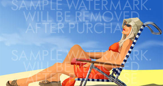 Box vector illustration of a woman in orange bikini resting in chaise longue on the beach.100.135