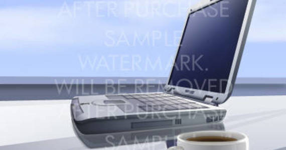 Box vector illustration of a silver laptop and a white cup of coffee.100.132