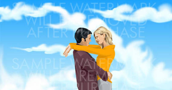 Box vector illustration of a hugging couple on the sky background.0.71