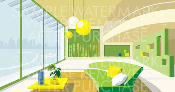 Box vector illustration picturing the interior of a modern sitting room done in yellow and green colors.0.59