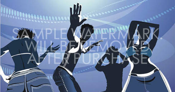 Box vector illustration of dancing people on blue background.100.154