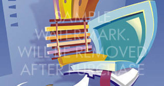 Box abstract vector illustration portraying an office worker holding a laptop and a bookshelf with folders and cell phone on top in one hand on a corporate building background.0.26