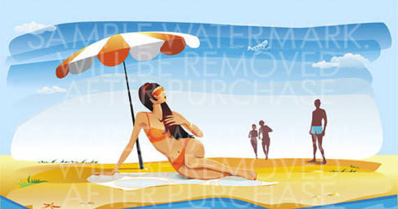 Box vector illustration of a long haired brunette in orange bikini sitting under the parasol on the beach.100.143