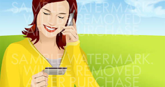 Box vector illustration of a smiling woman talking on a cell phone holding a plastic card in her hand.0.78