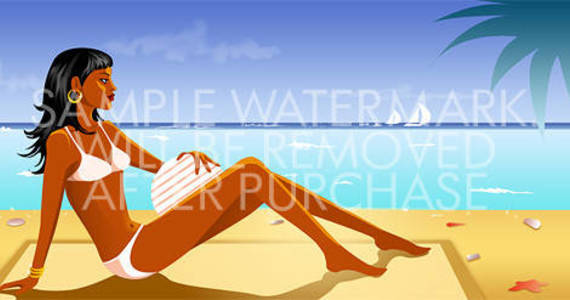 Box vector illustration of a tanned brunette in white bikini on the beach.0.75