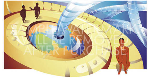 Box abstract vector business illustration showing businessmen cables and part of the globe in the center.100.151
