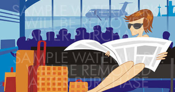 Box vector illustration of a girl wearing sunglasses reading a newspaper waiting for her plane at the airport with many suitcases near her.0.49