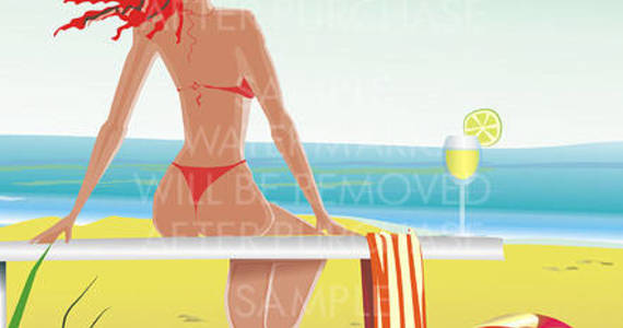 Box vector illustration of a redhead girl in red bikini sitting on the beach with a towel a ball and a glass of lemonade looking at the sea.0.10