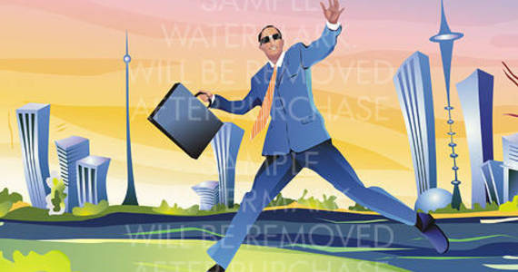 Box vector illustration of a running businessman with a briefcase on the modern city background.100.141