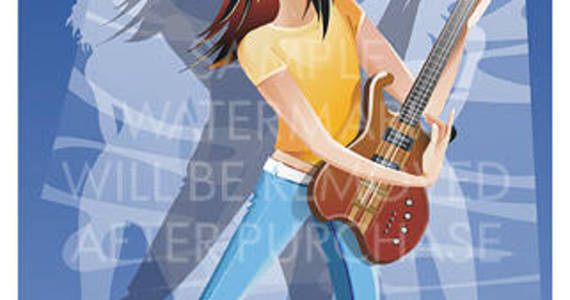 Box vector illustration of a guitarist with long hair in earphone wearing blue jeans.100.147