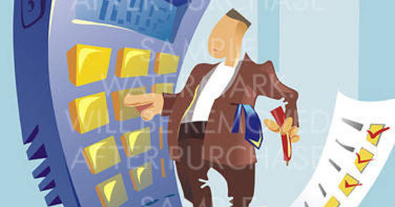 Box vector illustration depicting an office worker with a tie in his pocket standing on the sheet of paper holding a pen and making calculations on the huge calculator.0.30