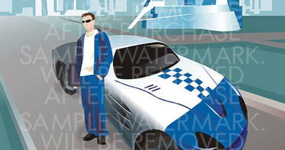 Box vector illustration of a young man standing near the luxury white and blue sport car.0.58