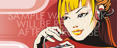 Vector illustratin of a blonde listening to music through headphones.100.116