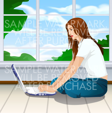 Vector illustration of a woman sitting on the floor typing on her laptop.0.83