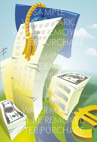 Cartoon vector illustration of several buildings rendered as heaps of money with a graduation cap on the highest of them.0.15