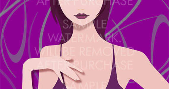 Box vector illustration of an oriental girl in a tank top on the lilac background.100.101
