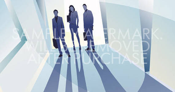 Box vector illustration rendering business people with their shadows on abstract background .0.97