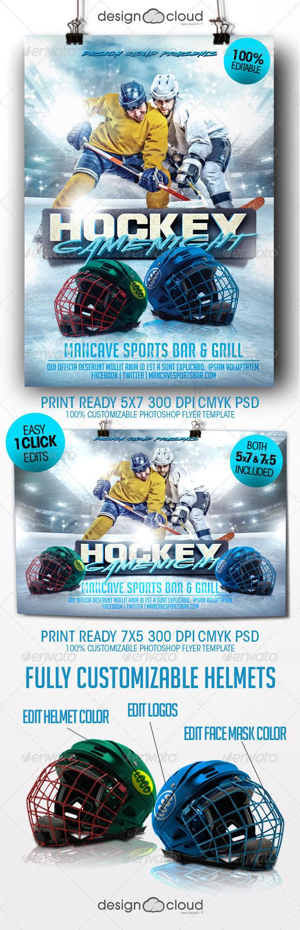hockey game night flyer template themestack net