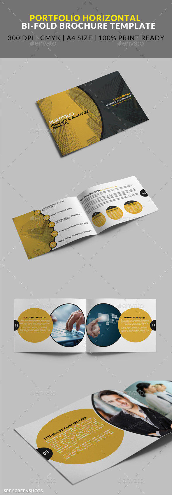 8 page a4 horizontal portfolio bifold brochure template preview