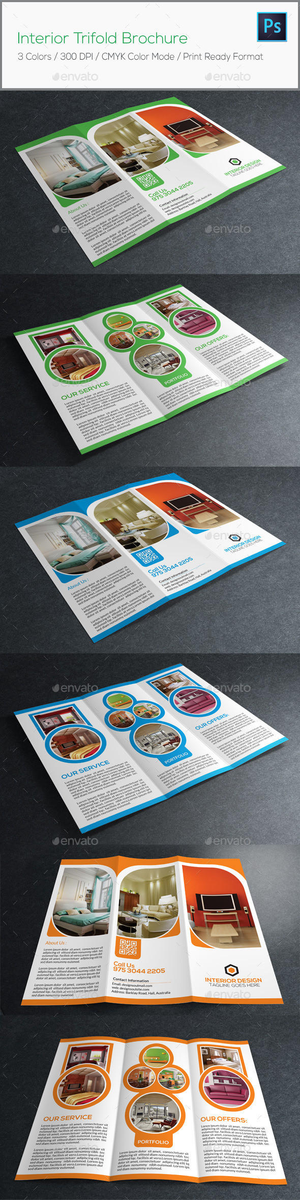 Interior trifold brochure preview