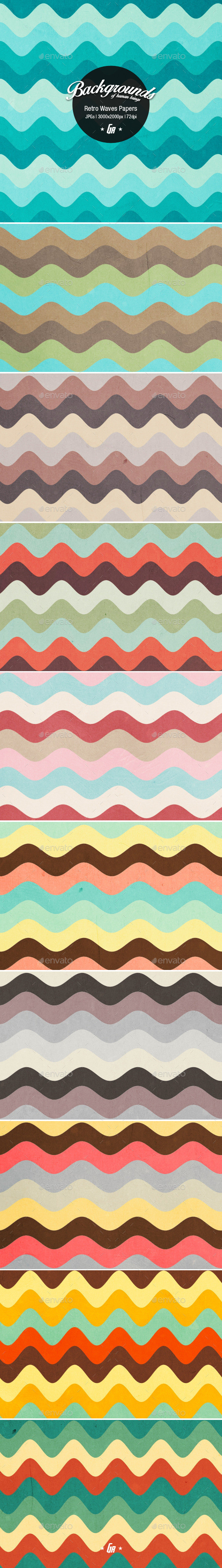 Retro waves paper backgrounds preview