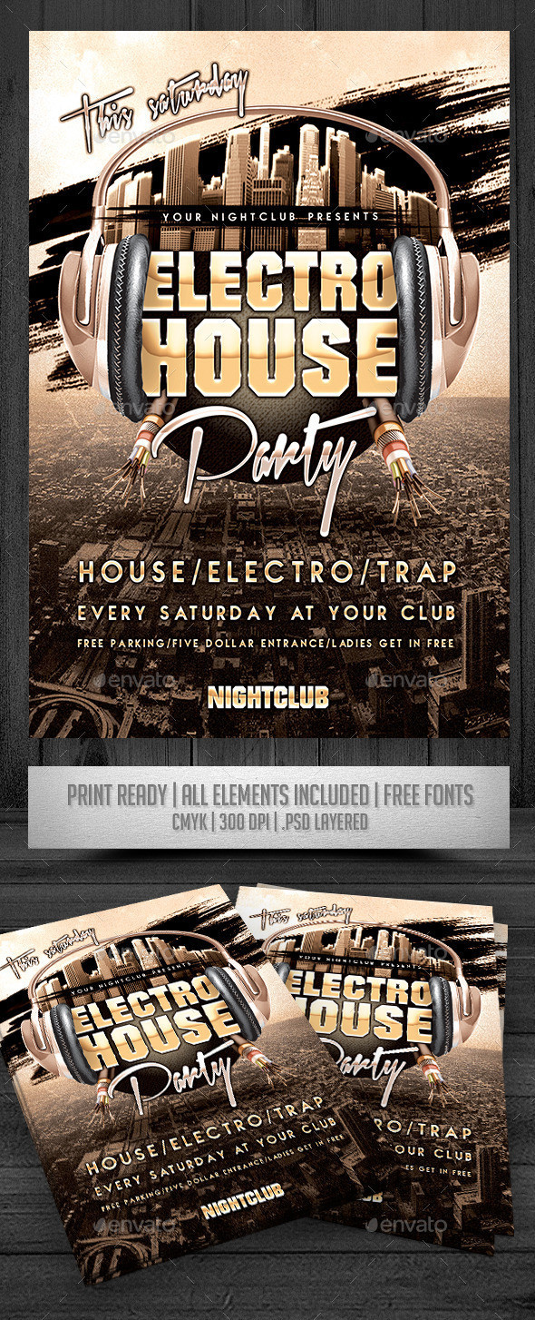 Electro house party flyer preview