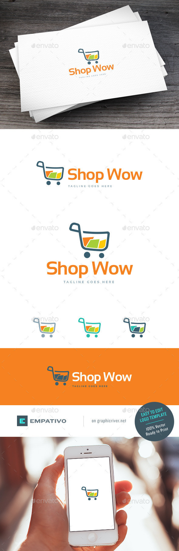 Shop wow logo template
