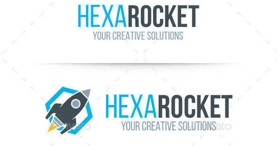 Box hexa rocket logo template