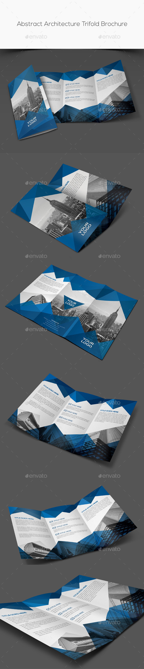 Abstract architecture trifold brochure preview
