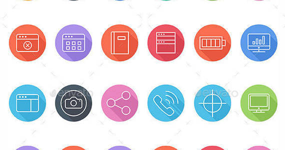 Box 120 flat line icons vector icons preview image