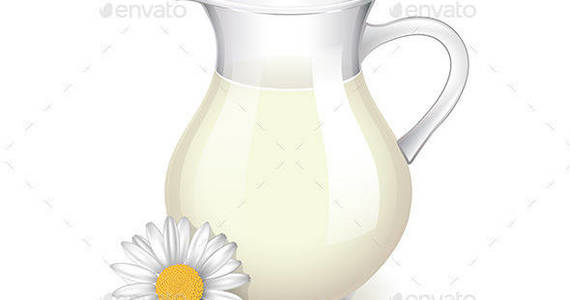 Box glass jug with milk chamomile flower isolated