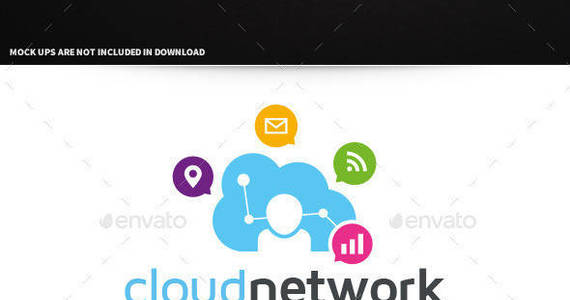 Box cloud network logo template