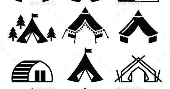 Box glamping luxury camping icons set prev